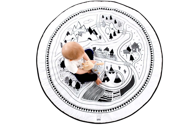 Villiage Organic Playmat Monochrome Nursery Decor Baby Room Toy Fun Gift Baby Shower