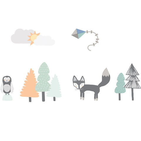 Fox & Friends in the Forest | Fabric Wall Decal