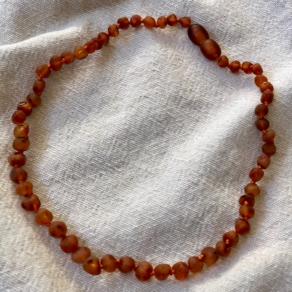 Raw Baltic Amber Child Screw Clasp Necklace | Cognac