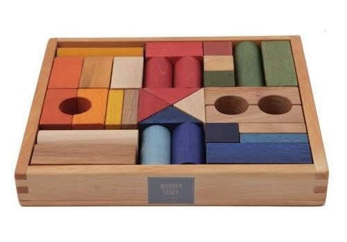 Rainbow Blocks in Wooden Box | 30 pieces