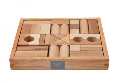 Natural Blocks in Wooden Box | 30 pieces