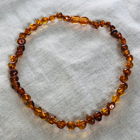 Cognac | Polished Children's Baltic Amber Necklace