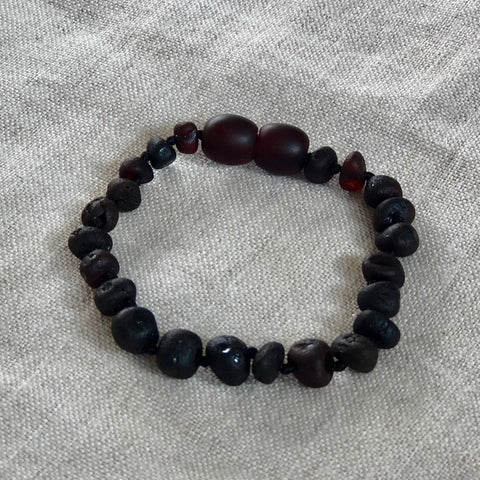 Dark Cherry | Raw Baltic Amber Child Screw Clasp Bracelet