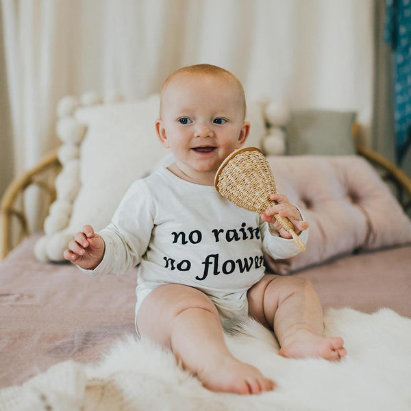 NO RAIN NO FLOWERS LONG SLEEVE ONESIE | WILD EARTH