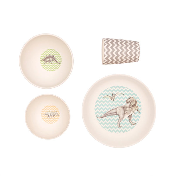 T-Rex Supper | 4 Piece Bamboo Dinner Set