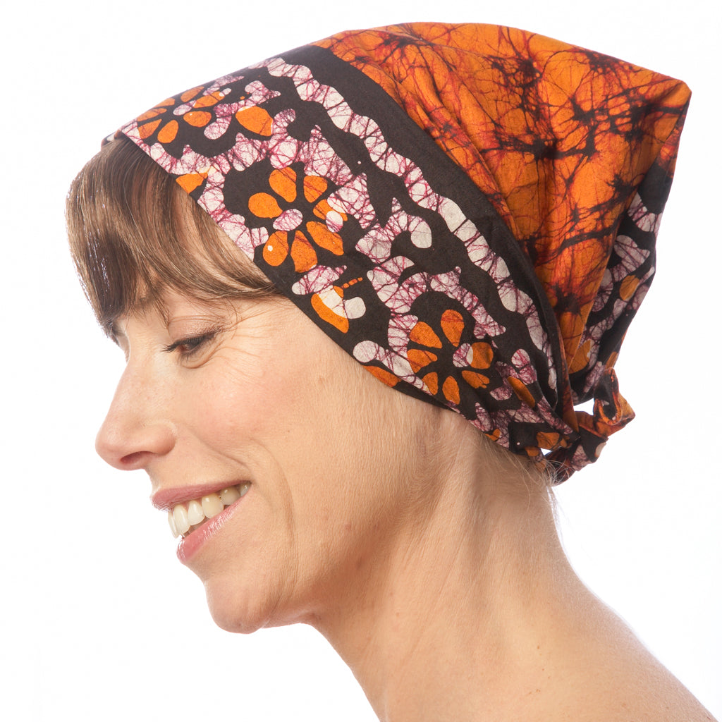 Batik Cotton Headscarf Orange