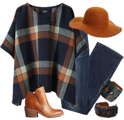 LPD Style: Plaid Poncho with Leather Cuffs