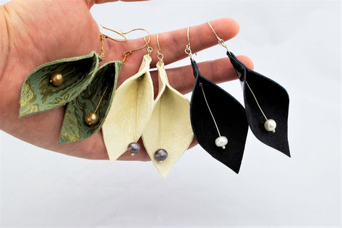 Cala Lily Leather and Freshwater Pearl Earrings