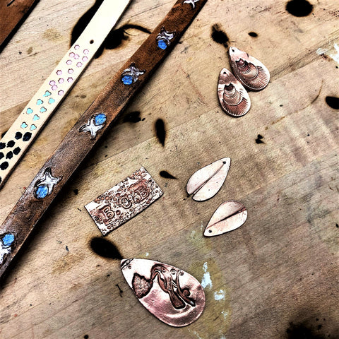 Metal Clay and Leather Workshop- putting the bracelet together