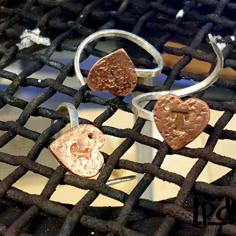 LPDstudios: Behind the Scenes - Copper Hearts and Sterling Silver Whimsy Rings