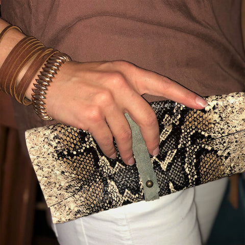 Leather Clutch in Reptile