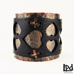 Copper and Black Leather Wide Wrist Cuff with Heart Motif