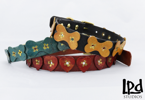 Custom Leather Pet Collar With Multi Bones Motif