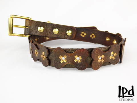 "Durable Leather Pet 1 1/8"" Width Collar with Dog Bones Motif - cognac"