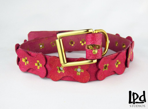 "Durable Leather Pet 1 1/8"" Width Collar with Dog Bones Motif - sorbet"
