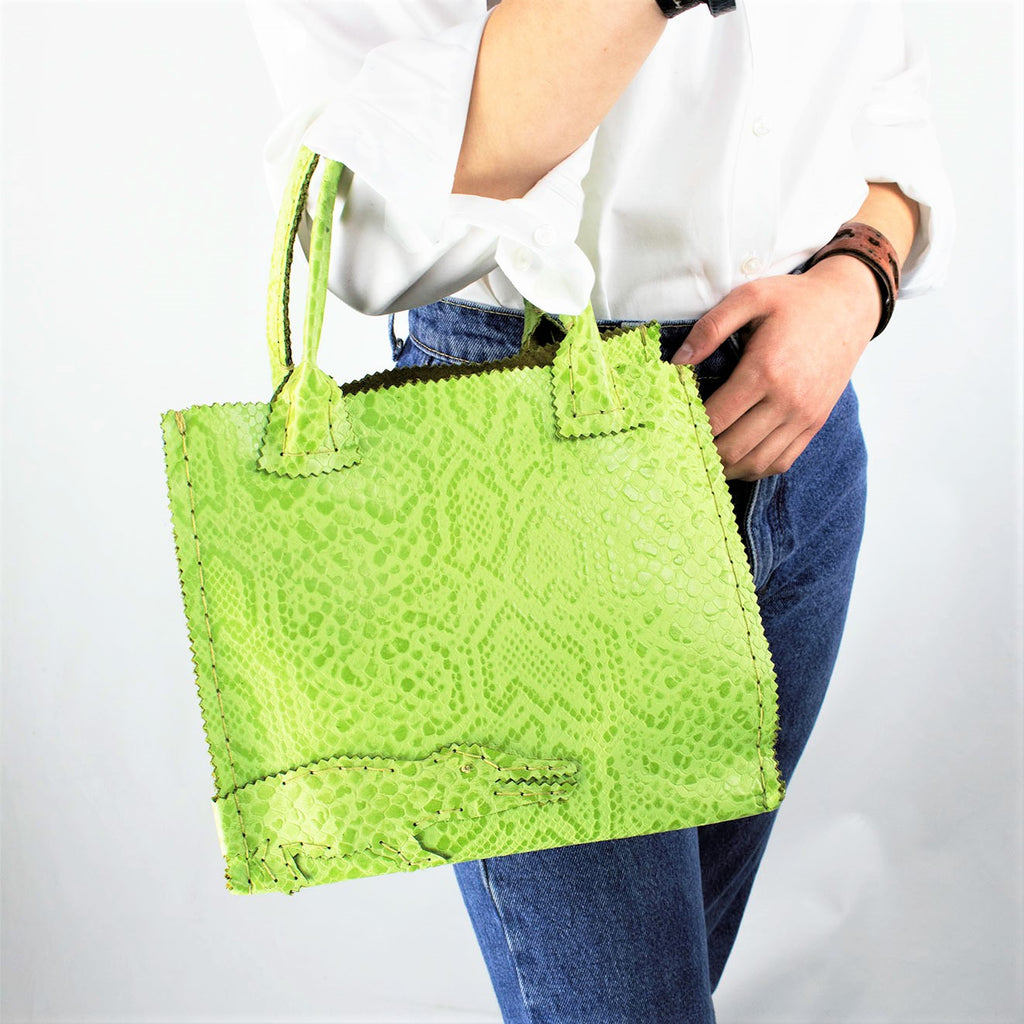 Apple Green Embossed Reptile Leather Mini Shopper Tote with Alligator