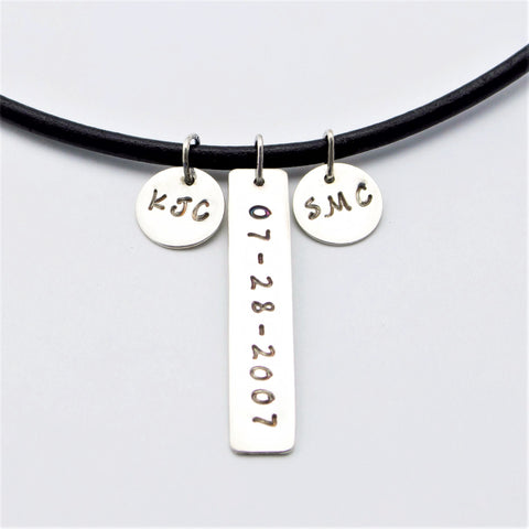 Mens Anniversary Necklace with Monogrammed Date and Custom Initials in Sterling Silver