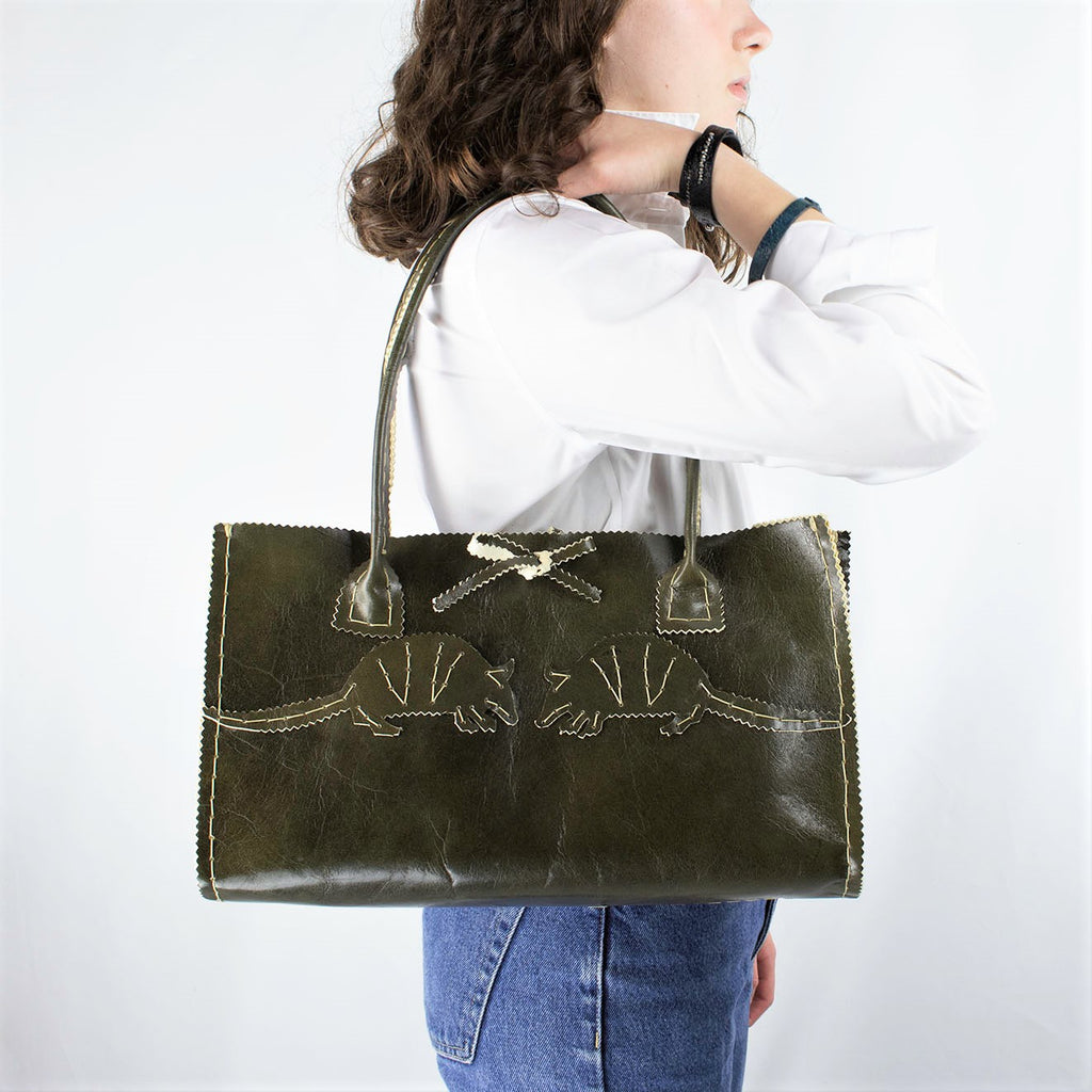 Ranger Green Large Leather Purse with Hand Cut Armadillos