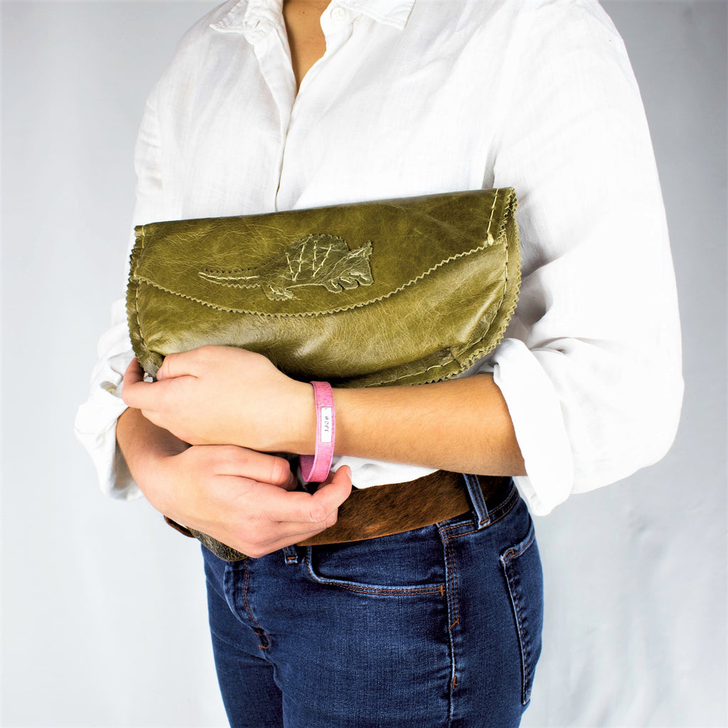 Hand sewn Olive Green Armadillo Envelope Clutch in Leather