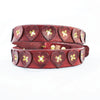 Distressed Antique Red Vintage Leather Belt with Hearts, Brass Rivets and Buckle