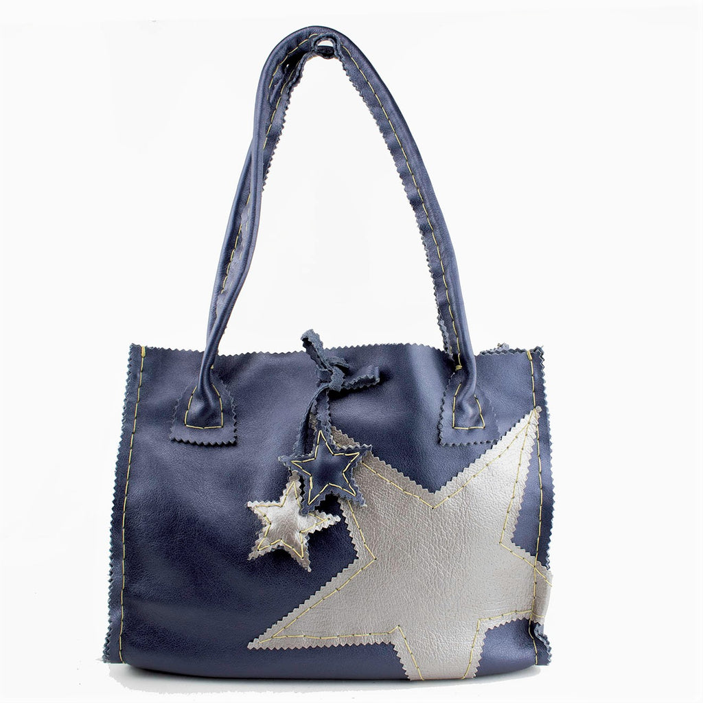 Navy Blue Pearled Leather Hand Bag with Silver Stars