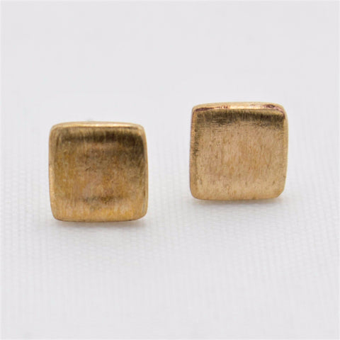 Brushed Bronze Square Earring Studs with Sterling Silver Posts