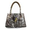 Silver Brindle Fur Leather Tote with Tassels