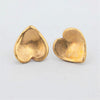 Gently Curved Gold Bronze Heart Earrings with Satin Finish and Sterling Silver Posts