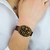 Gold Floral Bronze Medallion Red Bordeaux Vintage Leather Buckle Bracelet