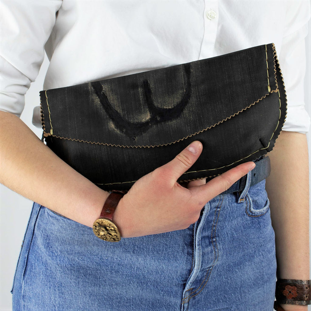 Black Distressed Leather Clutch with Branding Mark