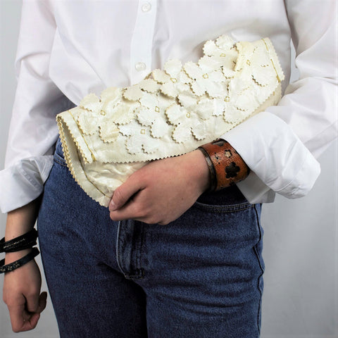Floral Clutch in a Pearled Ivory Crinkled Leather