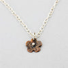 Vintage Copper Flower Charm Necklace with Sterling Silver Accents and Chain