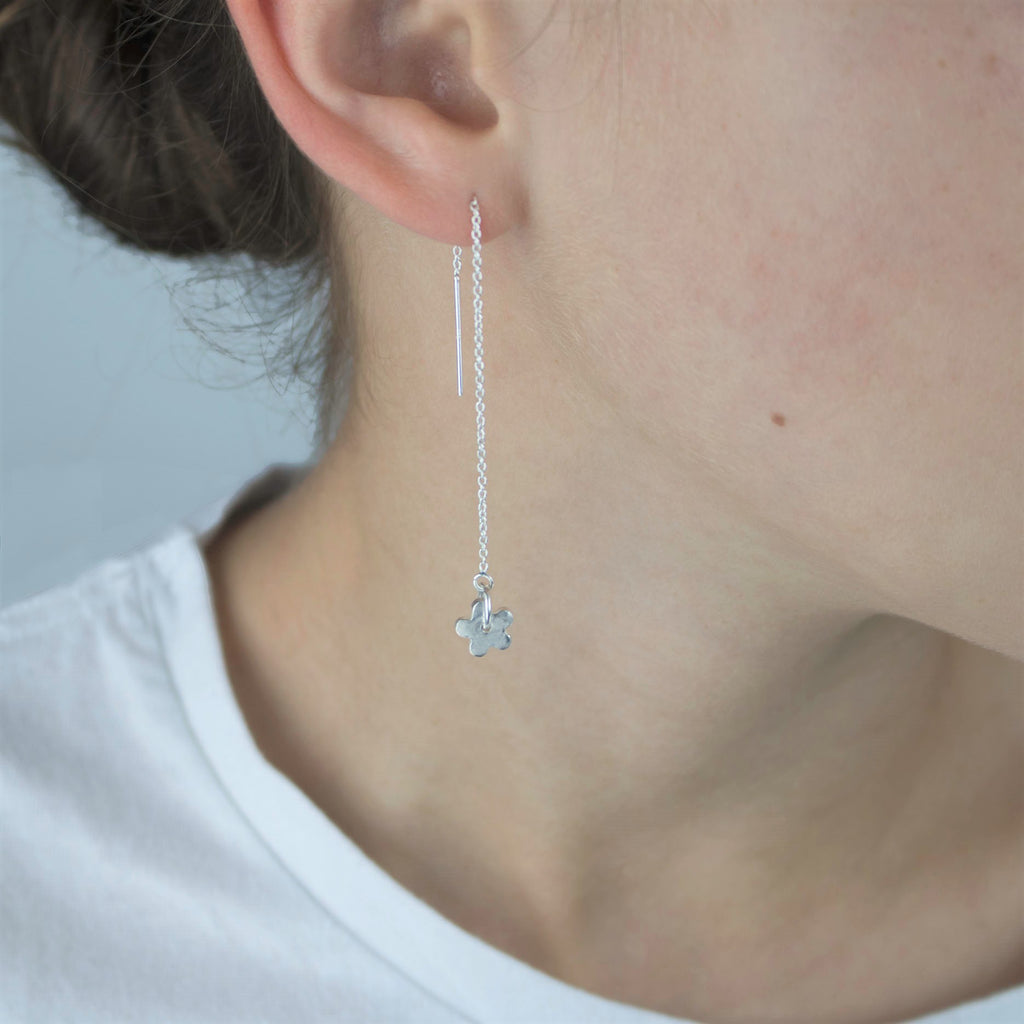 Fine Silver Daisy Earrings on a Sterling Silver  Cable Earring Chain
