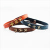 Floral Motif Rustic Leather Bangle with Hand Cut Rivets