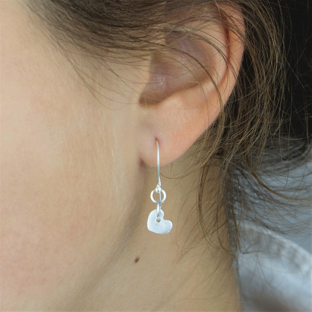 Swinging Hearts of Brushed Fine Silver with Decorative Sterling Silver Ear Wire