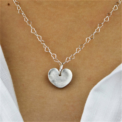 Delightful Fine Silver Heart Charm Necklace with Satin Finish