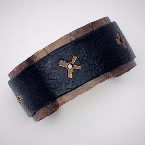 Mens Hand Forged Copper and Distressed Leather Cuff with Rivets
