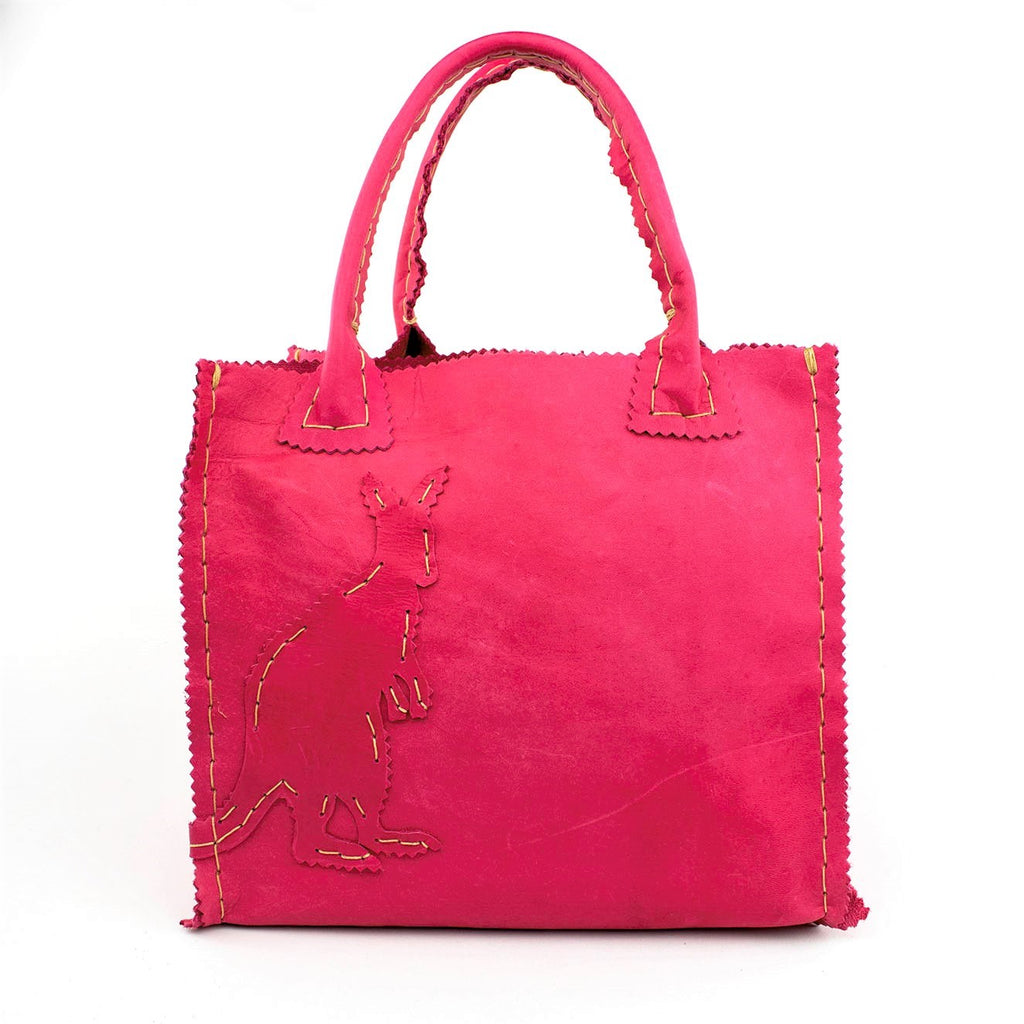 Lipstick Pink Nubuck Leather Purse with Kangeroo