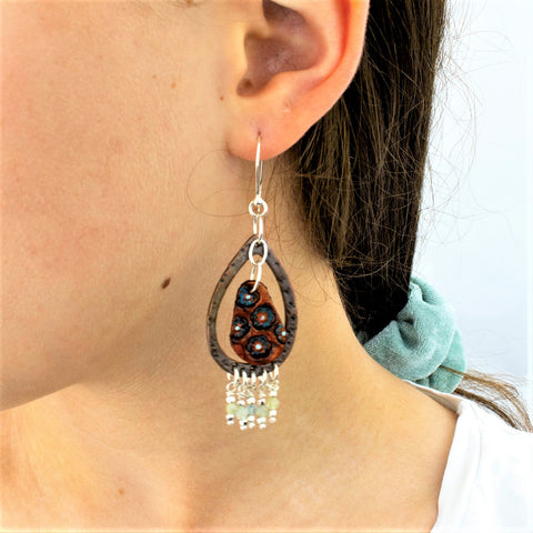 Stamped Floral Droplet Leather Earrings with Copper, Aquamarine Stones and Sterling Silver Beads