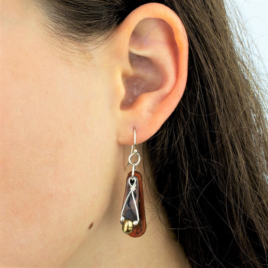 Leather and Copper Trumpet Vine Motif Earrings with Freshwater Pearl and Silver Beads