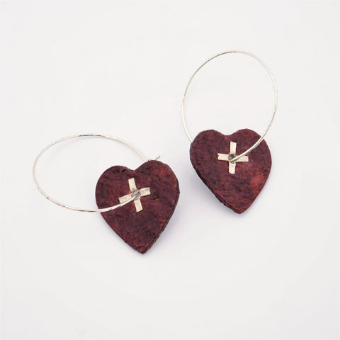 Leather Heart and Sterling Silver Earrings with Rivets
