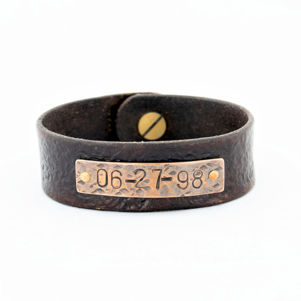 Vintage Leather Cuff With Distressed Custom Copper Nameplate