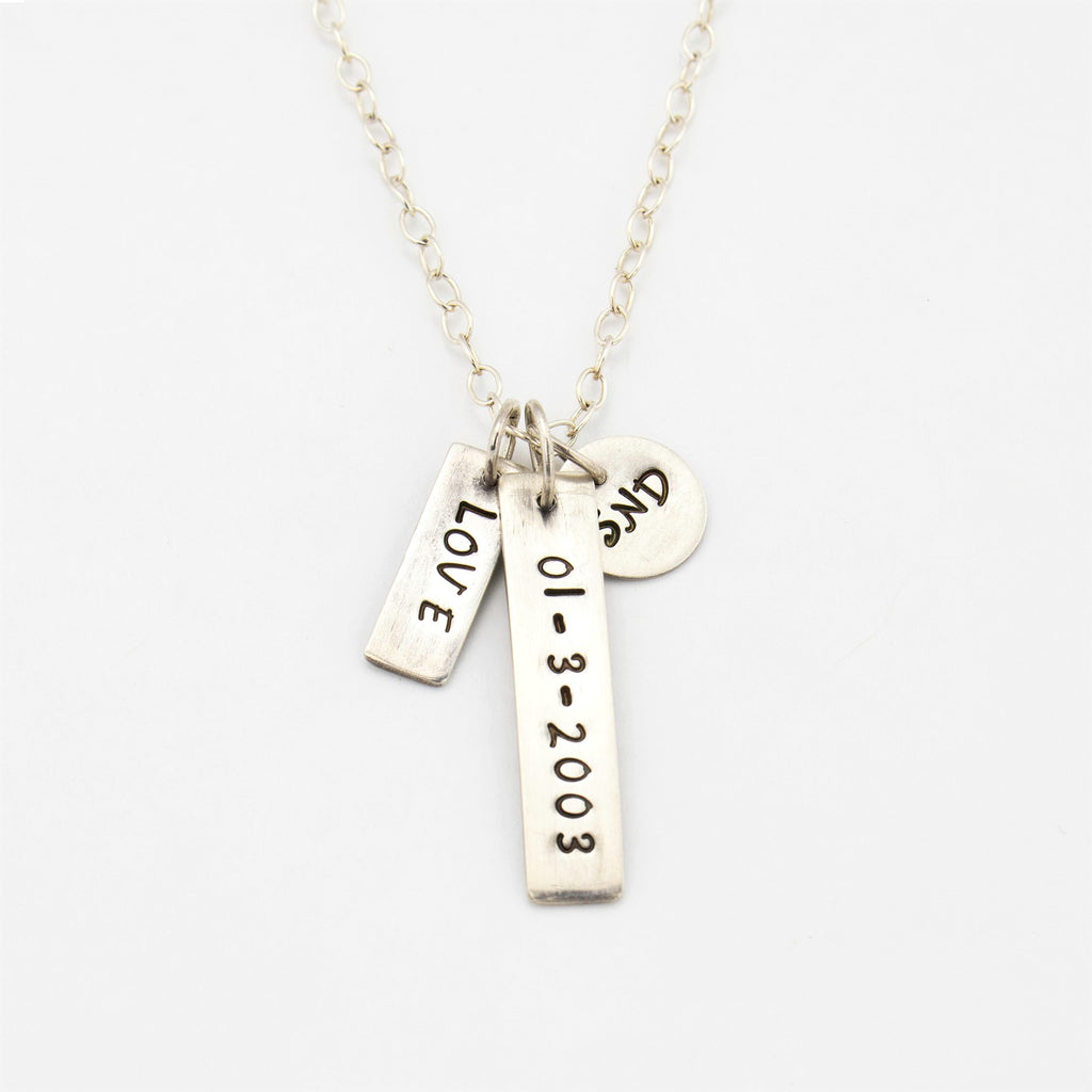 Stamped Sterling Silver Keepsake Necklace with Monogrammed Words, Date and Initials