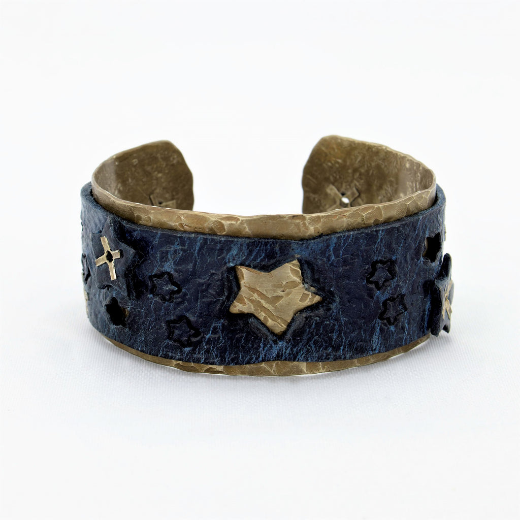 Blackened Silver Nickel and Vintage Cadet Blue Leather Cuff with Stars
