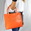 Persimmon Orange Mini Leather Tote with Floral Stripe