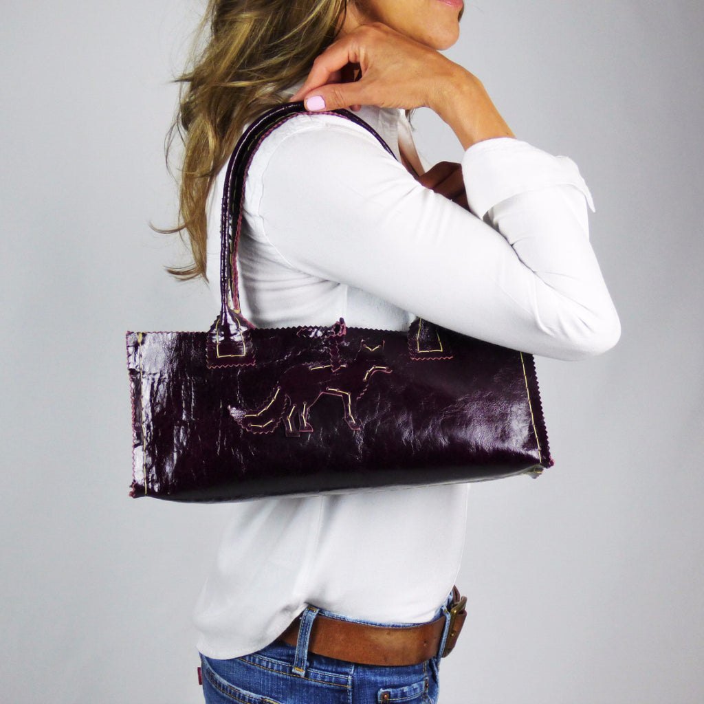 Deep Purple Patent Custom Leather Small Tote with Fox