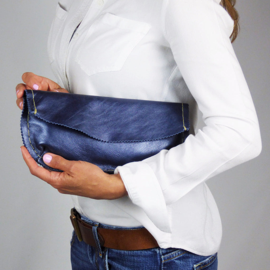 Pearled Navy Blue Handsewn Evening Clutch