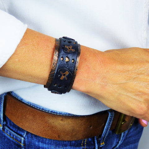 Distressed Black Leather and Copper Cuff with Multiple Heart Design