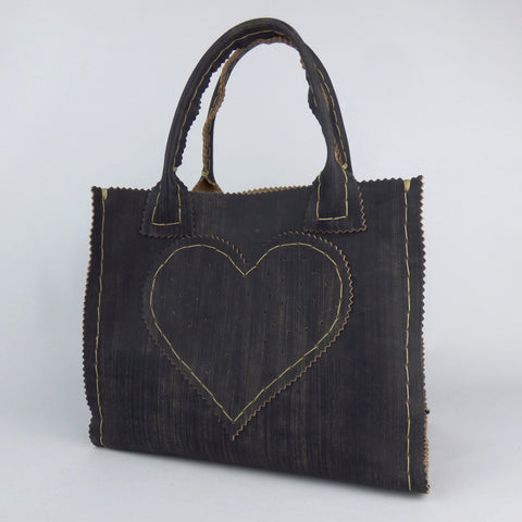 Distressed Black Leather Mini Shopper Tote with Handsewn Heart