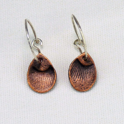 Blackened Copper Feather and Sterling Hoop Earrings